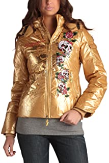 9f129503a7e4 Ed Hardy Womens Skulls and Roses Down Puffer Jacket - Gold