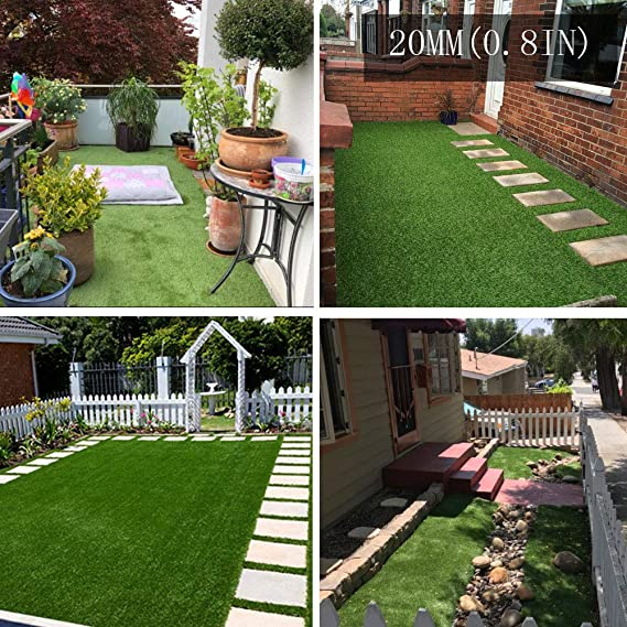 Amazon Com Artificial Grass Turf Rug 20mm Thick Faux Grass Synthetic Lawn Pet Turf Perfect For Indoor And Outdoor 4ft X 7ft 28 Square Ft Kitchen Dining