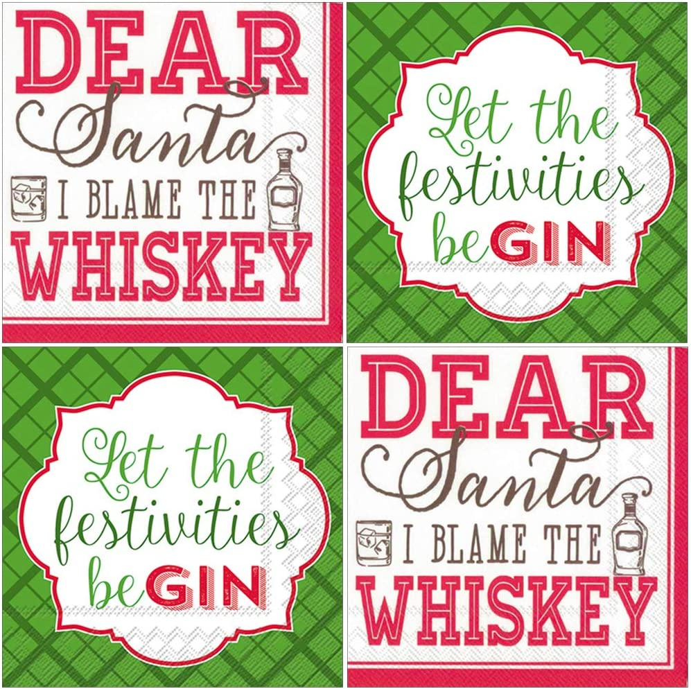 Funny Holiday Cocktail Napkins - Whiskey and Gin Theme - 80 Count - Paper Beverage Party Napkins