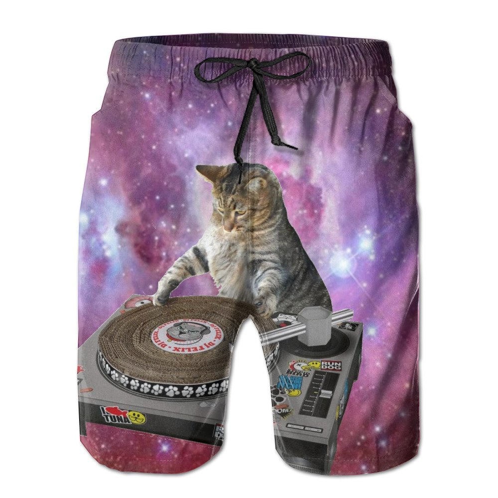 Oqusd Adult Cats in Space Casual Shorts for Men 2017 Popular