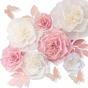 JulyLab Tissue Paper Flower Pink White Set of 13 Craft Crepe Wall Decor DIY Giant Decoration for Wall Baby Nursery Wedding Backdrop Bridal Shower Centerpiece Monogram