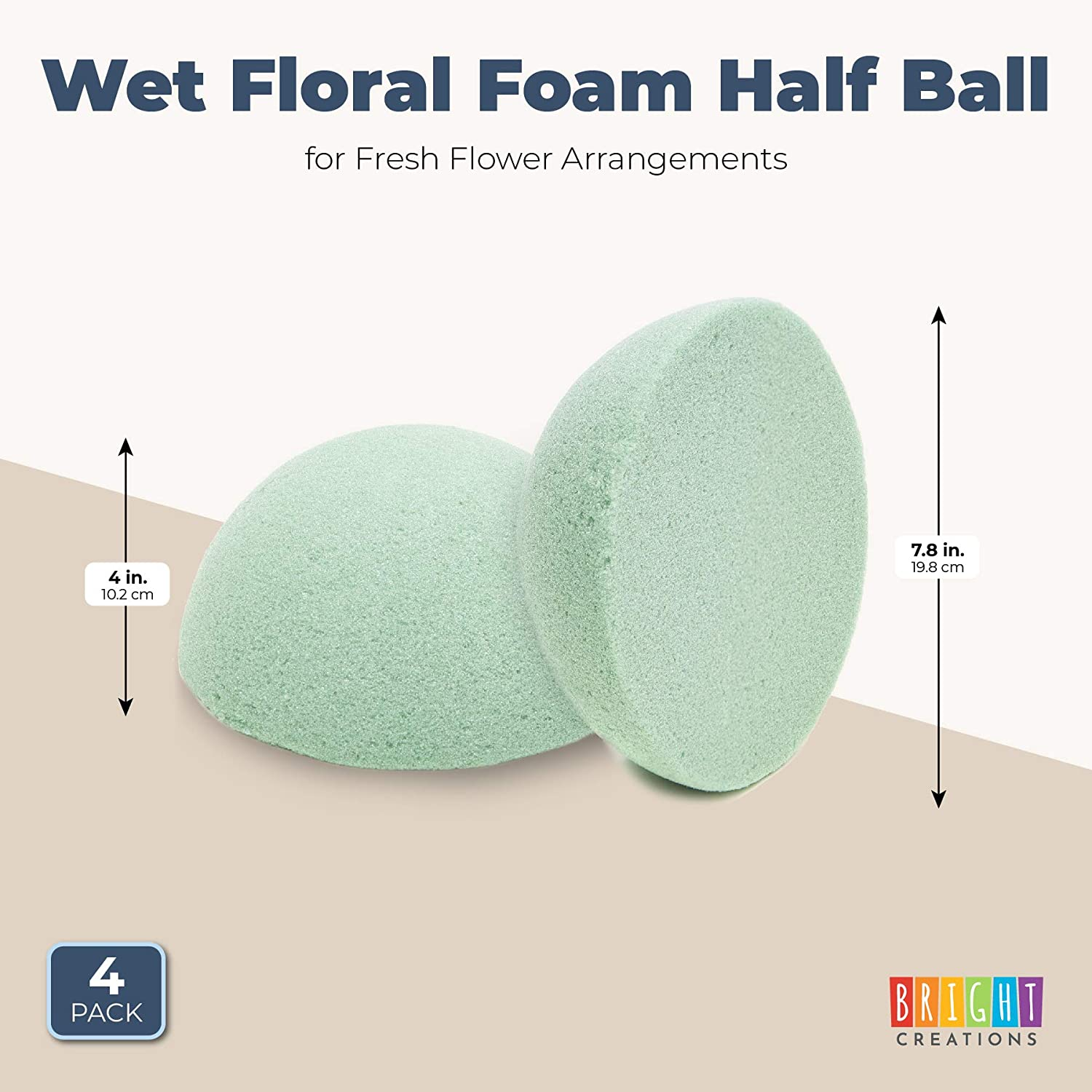 Wet Floral Foam Half Circles for Arts 7.8 Inches, Green, 4 Pieces Crafts