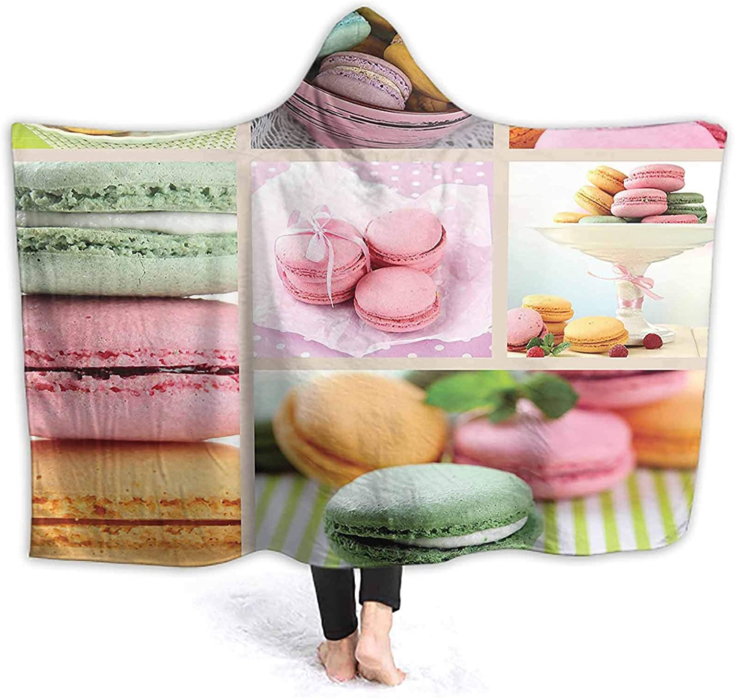 ThinkingPower Hooded Blanket ERT Macaro Themed Collage fee Gourmet Sweet Print Multicolor Premium Fleece Blanket Perfect for Home Office and Watching Tv on Sofa 80 x 60 Inch