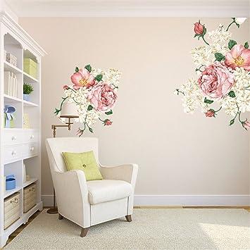 JAYSK Das Wohnzimmer Ist Eingerichtet Wall Poster Schlafzimmer Pfingstrose  Blumen Bett Wand Poster 50 Cm*