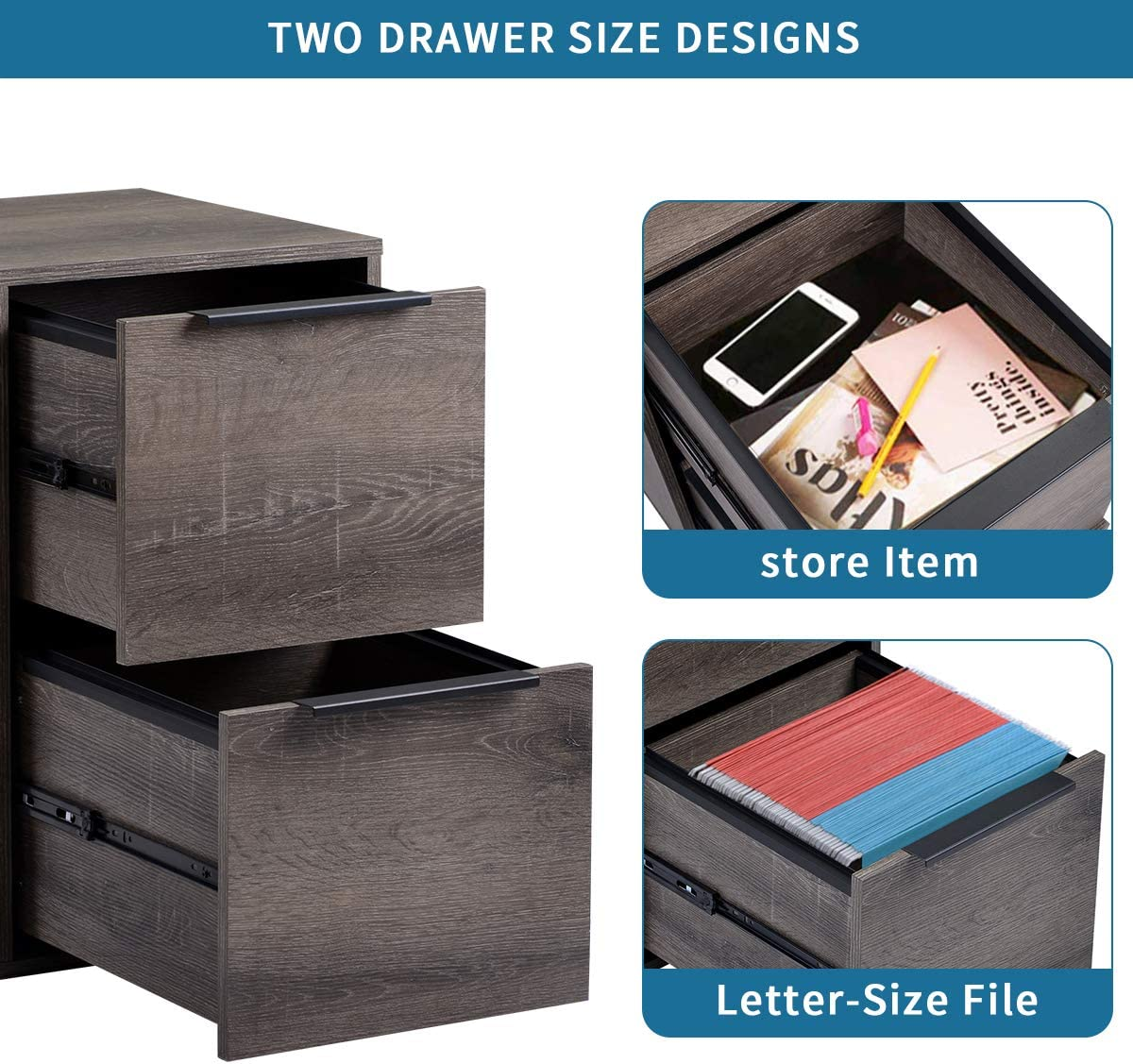 Letter-Size File for Home Vertical Filing Cabinet with 2 Drawers DANGRUUT Best Wood 2-Drawers File Cabine Walnut Office Easy to Install