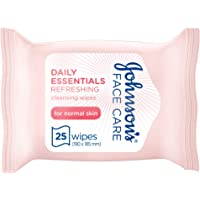 JOHNSON'S Cleansing Face Wipes - Daily Essentials, Refreshing, Makeup Remover, Normal Skin, 25 wipes