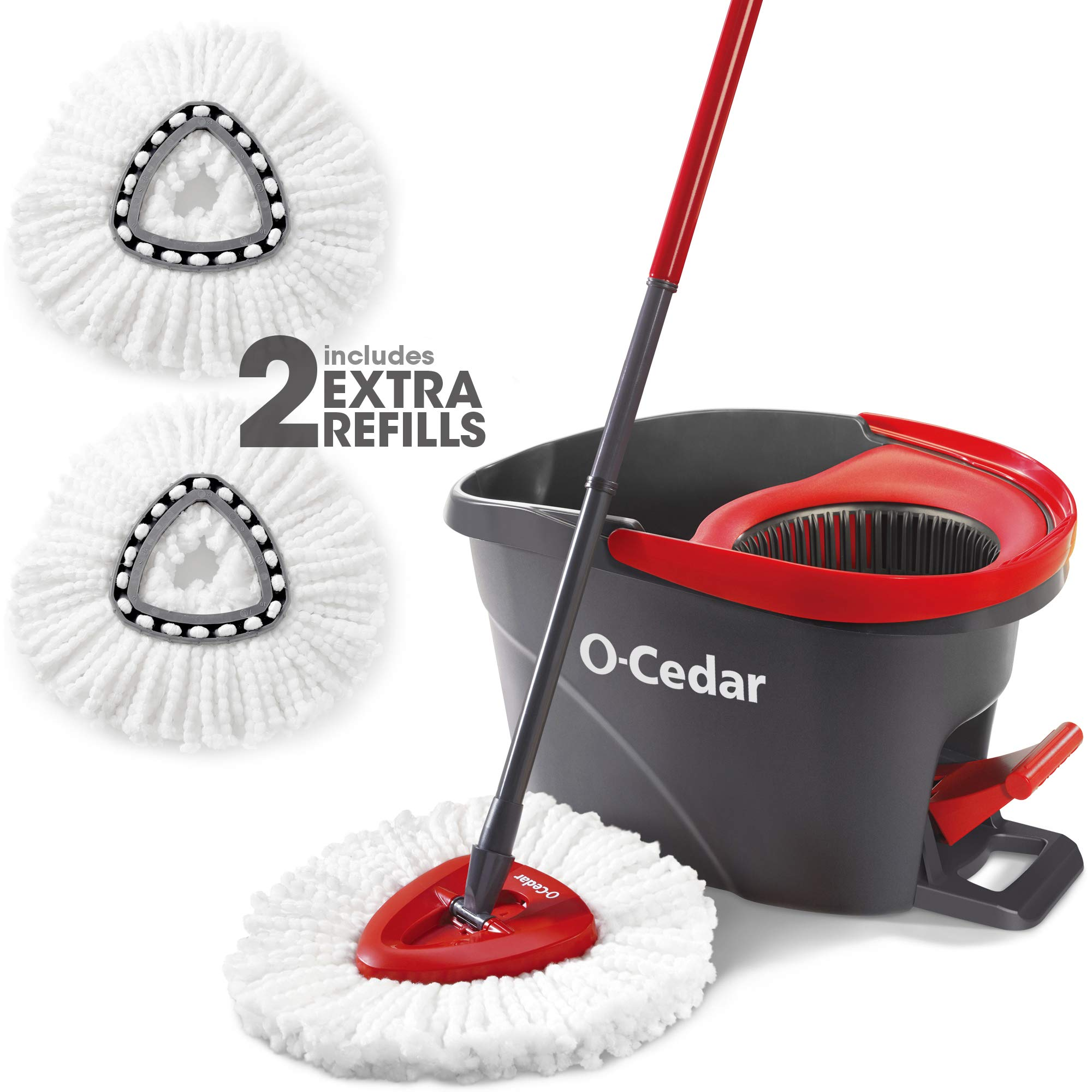 O-Cedar System Easy Wring Spin Mop & Bucket with 2 Extra Refills