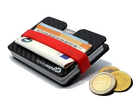 Tarjetero minimalista MOTR™ de 5mm con compartimiento (auténtica fibra de carbono). Bloqueo. Pasa ...