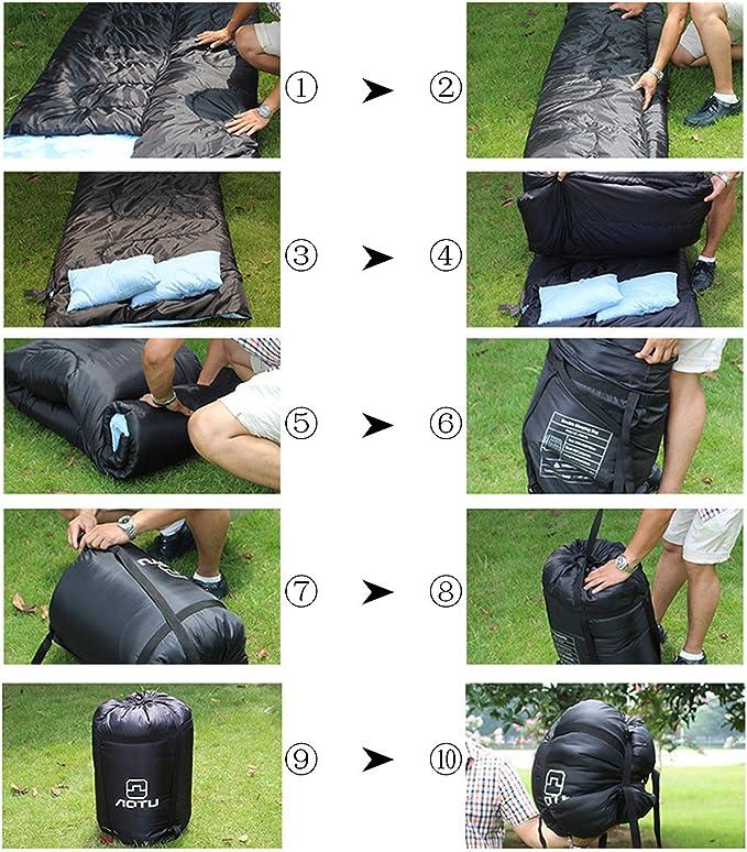 Outad - Saco de dormir doble, impermeable, color negro y azul