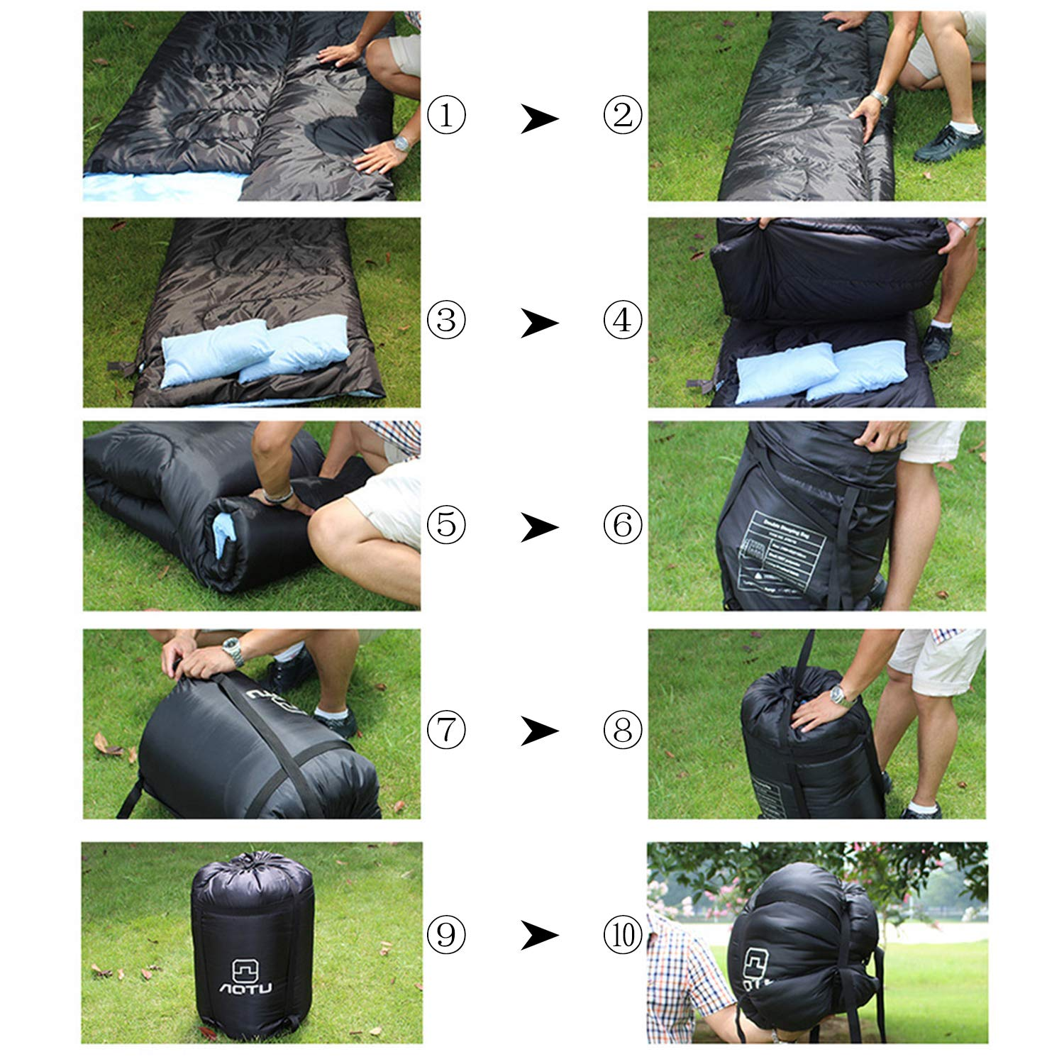 OUTAD Double Sleeping Bag for Adults with Pillows and a Carry Bag Lightweight Sleeping Bag For Outdoor Camping Hiking
