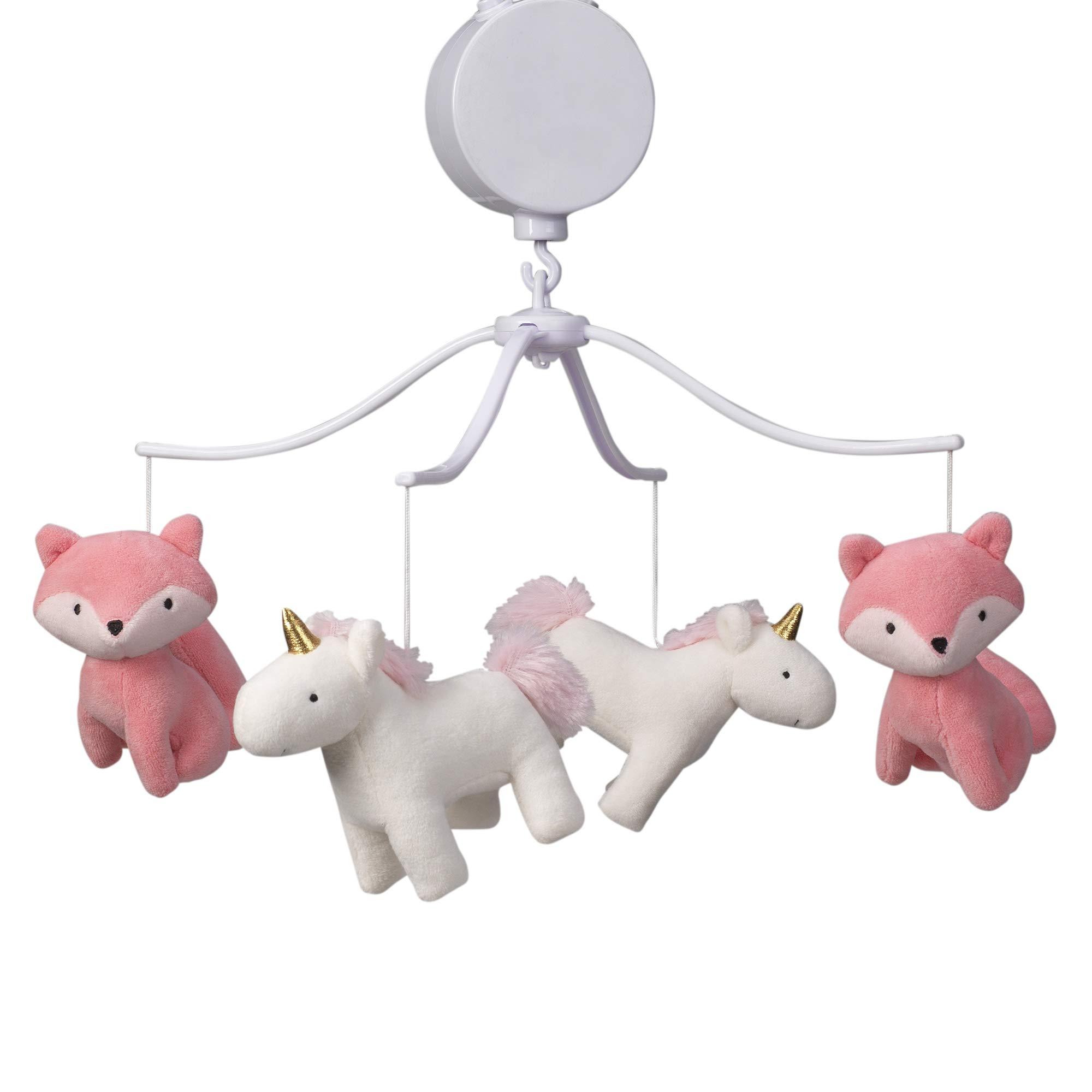 Bedtime Originals Rainbow Unicorn Musical Baby Crib Mobile, Pink by Bedtime Originals