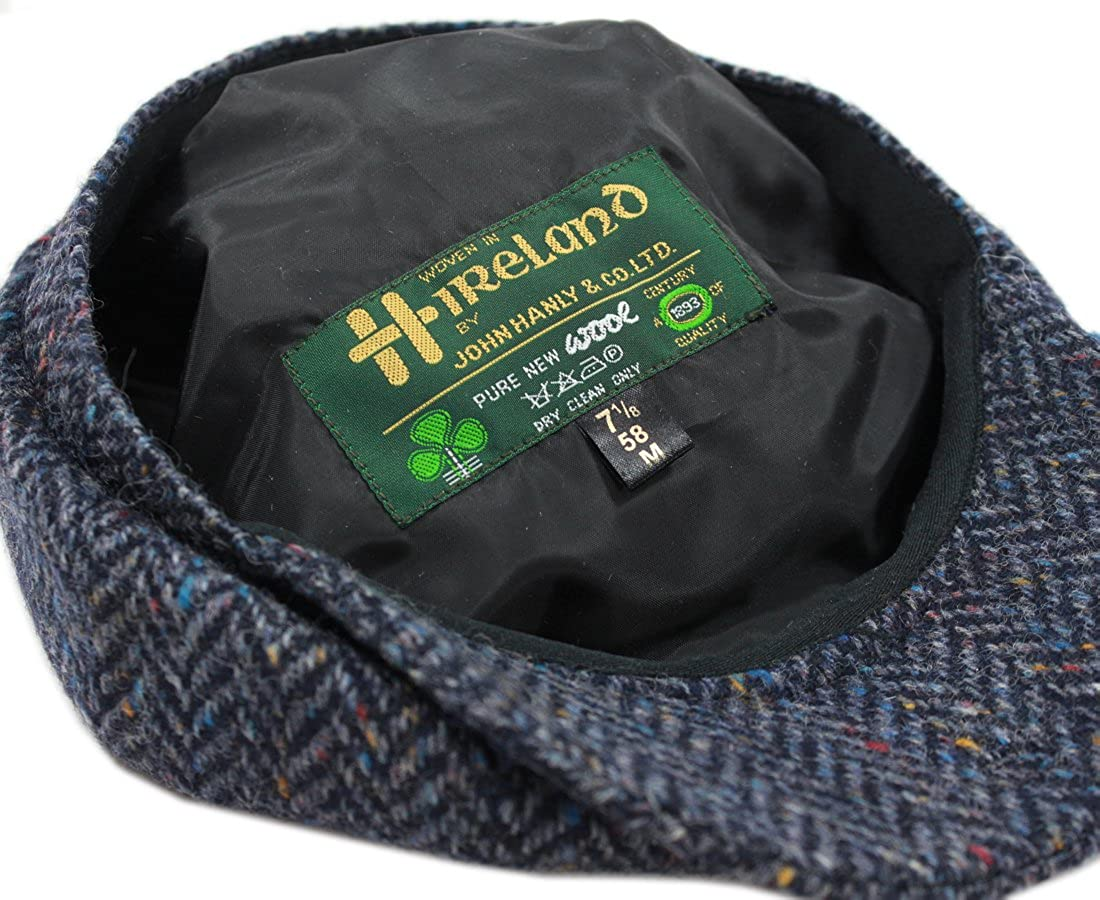 eff7adee31f Newsboy Cap 100% Wool 8 Piece Navy Herringbone Blinder Hat Made in Ireland  at Amazon Men s Clothing store
