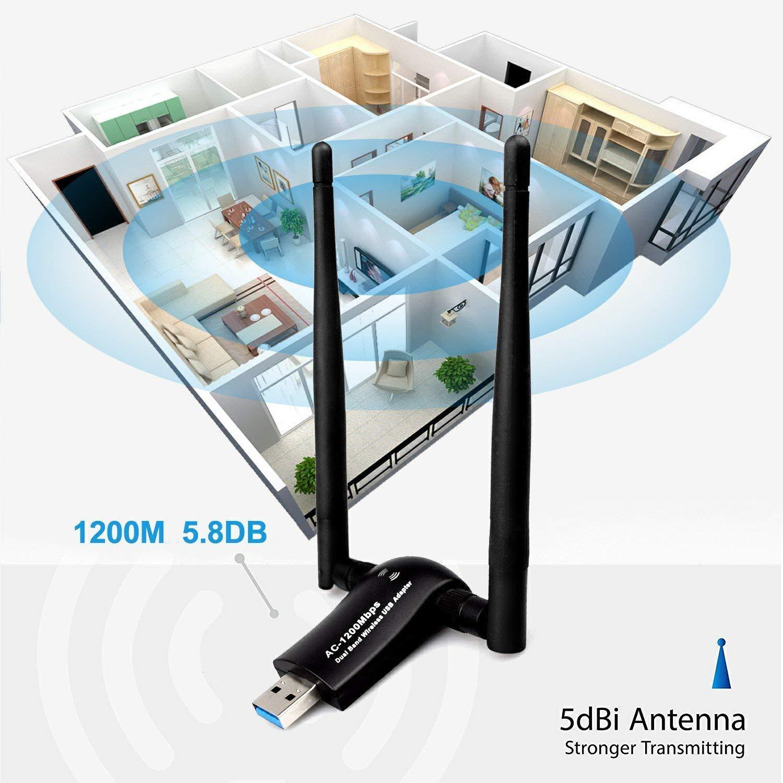 1200Mbps Wireless USB WiFi Adapter, Maxsoco WiFi Adapter,AC1200 Dual Band 802.11 ac/a/b/g/n,2.4GHz/300Mbps 5GHz/867Mbps High Gain Dual 2 X 5dBi Antennas Network WiFi USB 3.0 for Desktop (Black) by Maxsoco (Image #3)