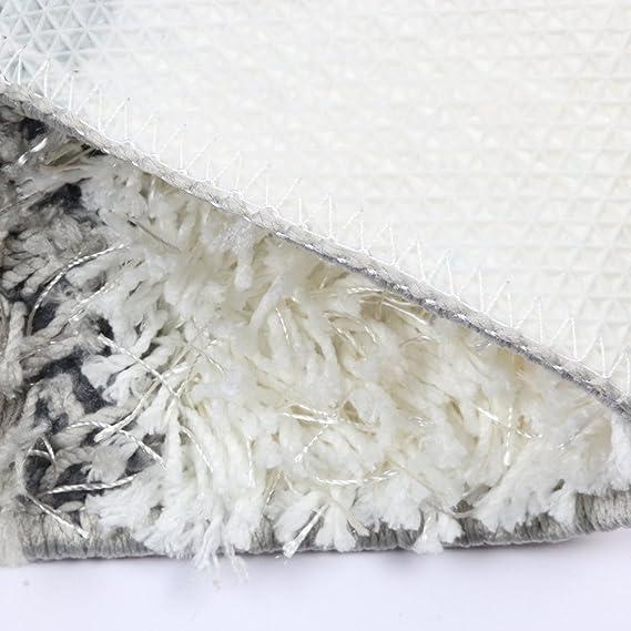 Fanjow Microfiber Area Rug Geometric Accent Shag Rug Checker Design Non-Slip Washable Modern Shaggy Area Rug Floor Mat for Bedroom 18 30 4575cm Bathroom , Black