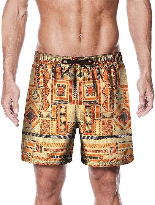 Color : Orange, Size : L Gohbqany Mens Swim Trunks Mens Swim Shorts Swimming 3D Print Beach Shorts Boardshorts for Summer M-XXL
