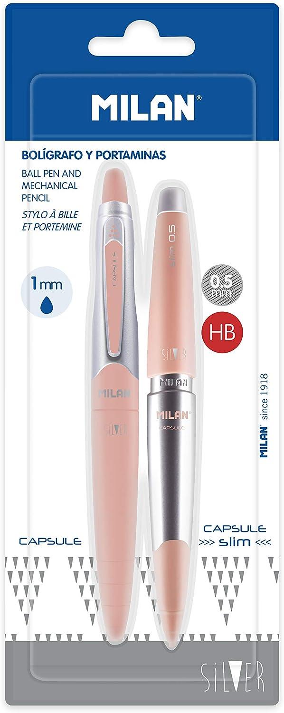 Blíster 1 Bolígrafo Azul y 1 Portaminas 0.5 mm Capsule Silver MILAN - Color rosa pastel