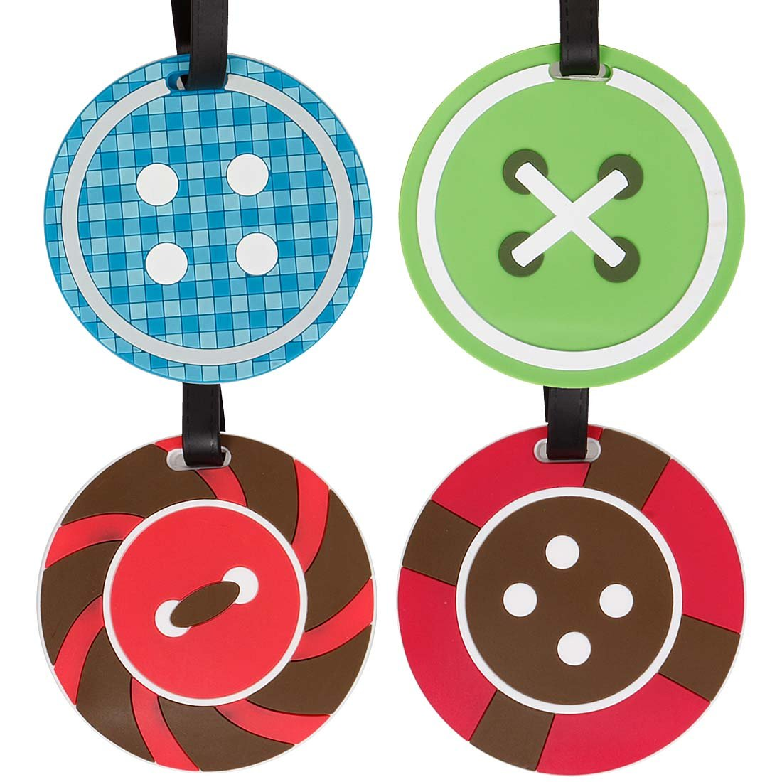 Bundle Monster 4pc Fun Mixed Design Silicone Luggage ID Bag Tags - Set 4: Button Down