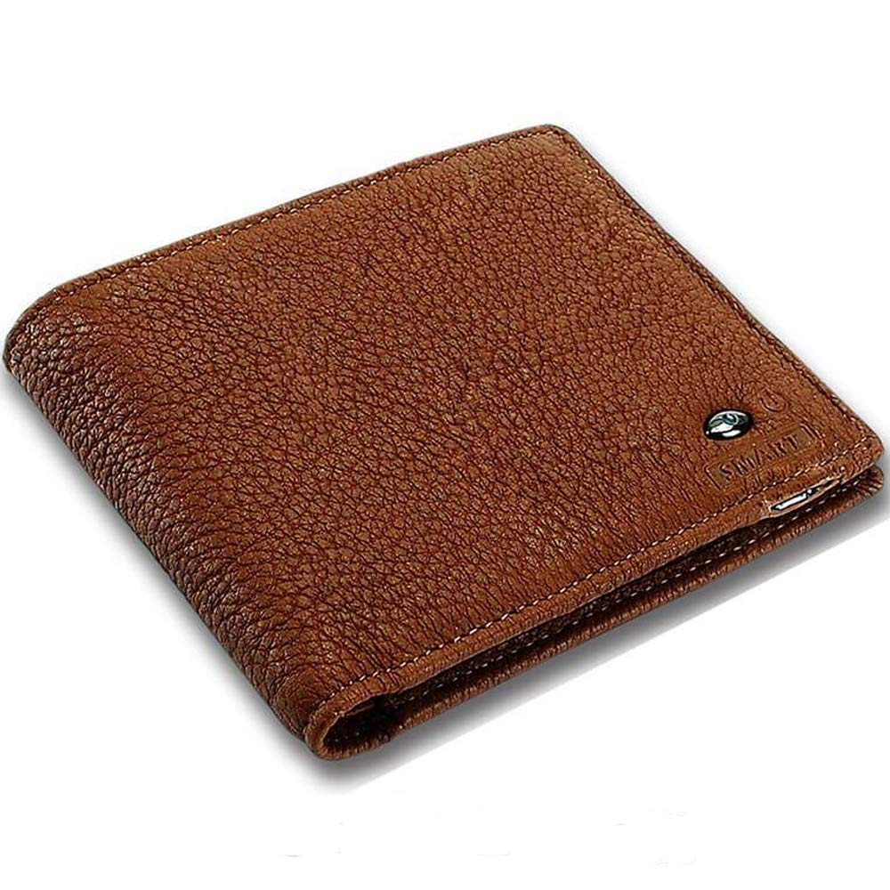 Tuopuke Genuine Leather Wallet Bluetooth Connected with Phone iOS Andriod APP Available Anti Lost Selfie Wallet (Brown) by Tuopuke