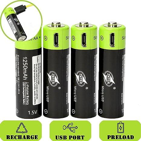 SOEKAVIA 1250 mAh batería de 1.5 V AA Batería de polímero de litio recargable Micro USB