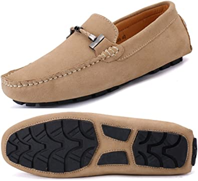 918cbb0ffd6 Go Tour New Mens Casual Loafers Moccasins Slip On Driving Shoes Beige 38
