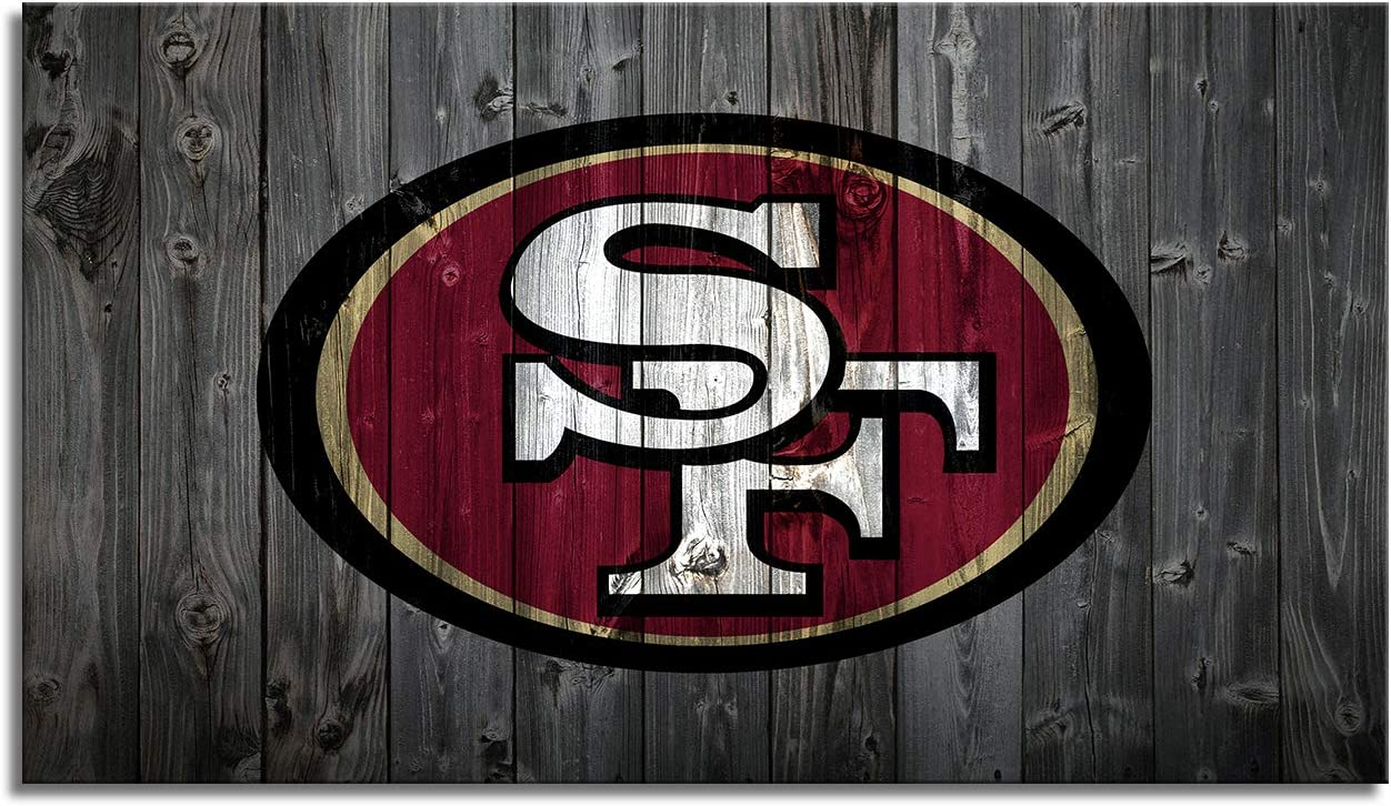 MIAUEN San Francisco 49ers Wall Art Decor Poster Framed Prints Canvas Picture Sports Football Home Decoration Living Room Bedroom Game Room Paintings Ready to Hang(28''Wx16''H)