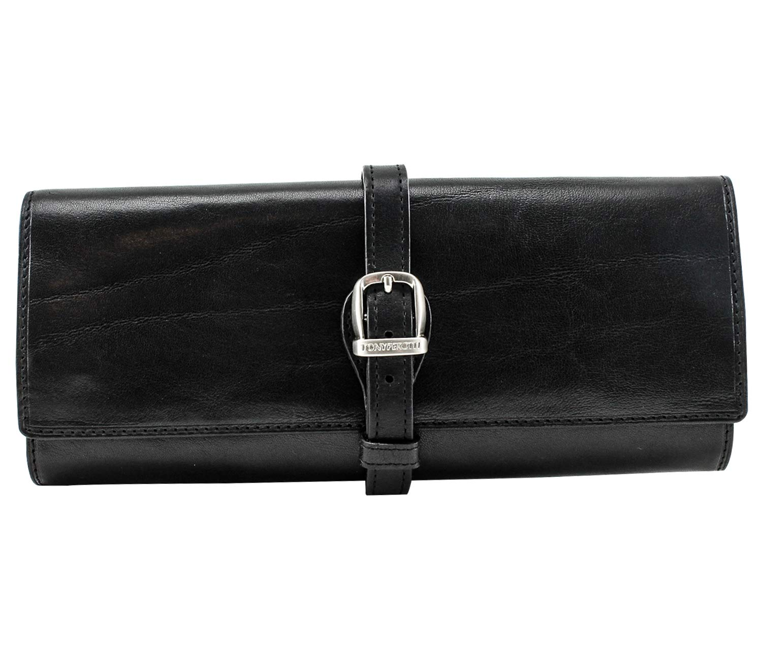 CUSTOM PERSONALIZED INITIALS ENGRAVING Tony Perotti Womens Italian Bull Leather Grande Jewelry Roll Travel Organizer in Black