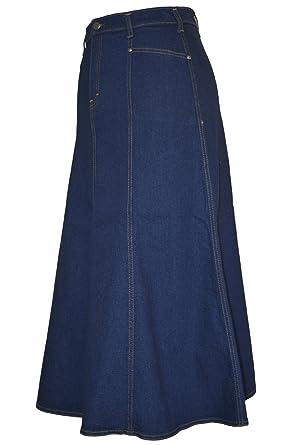 cd876b258 Ice Cool Ladies Long Flared Indigo Stretch Denim Skirt - Sizes 10 to 22. in  30