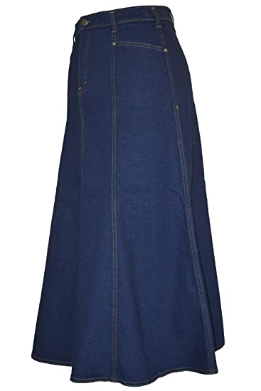 d2a3f4a02a2 Ice Cool Ladies Plus Size Long Flared Indigo Stretch Denim Maxi Skirt Sizes  14 to 26  Amazon.co.uk  Clothing