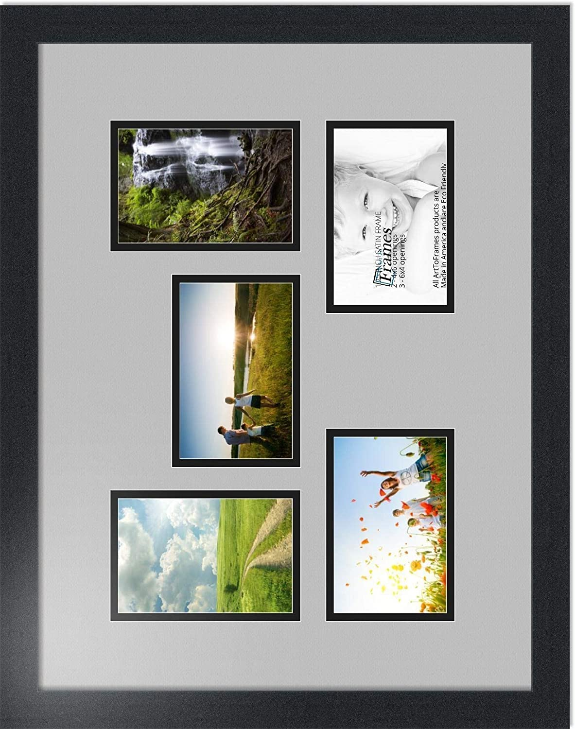 Art to Frames Double-Multimat-322-818//89-FRBW26079 Collage Photo Frame Double Mat with 5-4x6 Openings and Satin Black Frame