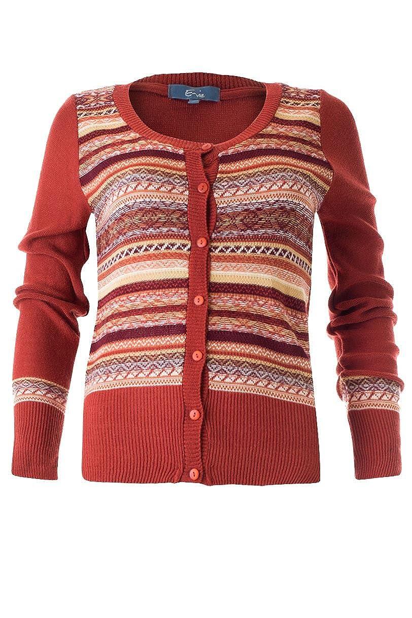 White Label Rust Red Lightweight Fairisle Stripe Vintage Cardigan WW2 style