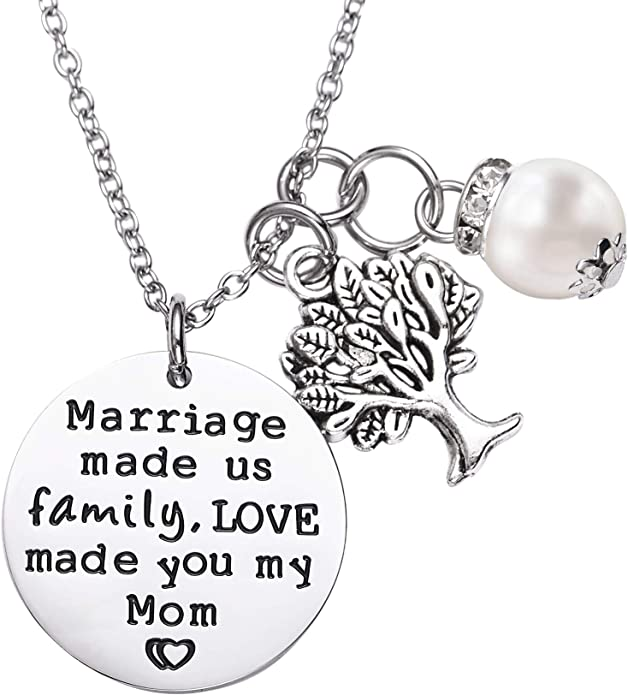 Mother in Law Gift Jewelry with Message Card From Daughter-in-law Necklace Dark Blue Butterfly Background