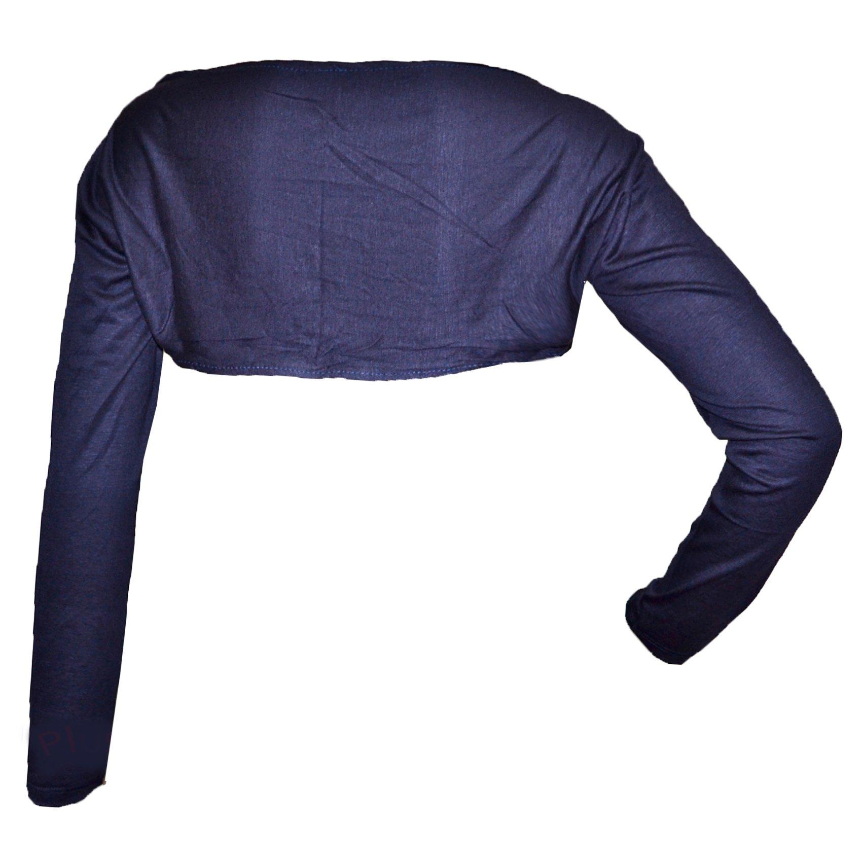 HAYAA Clothing Seamless Shrug Bolero 1-pc Muslim Sleeves Plus Size (Navy)
