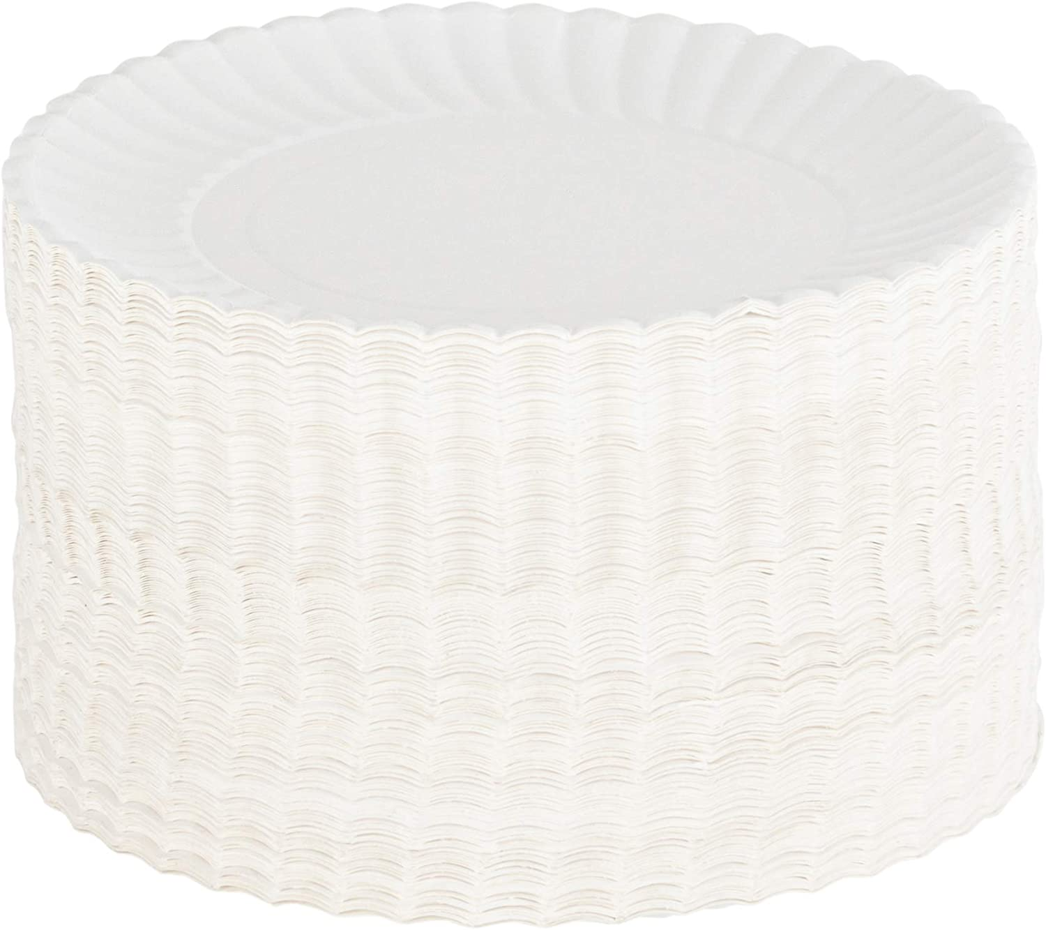 Plasticpro Disposable White Uncoated Paper Plates 7'' Inch Pack of 250