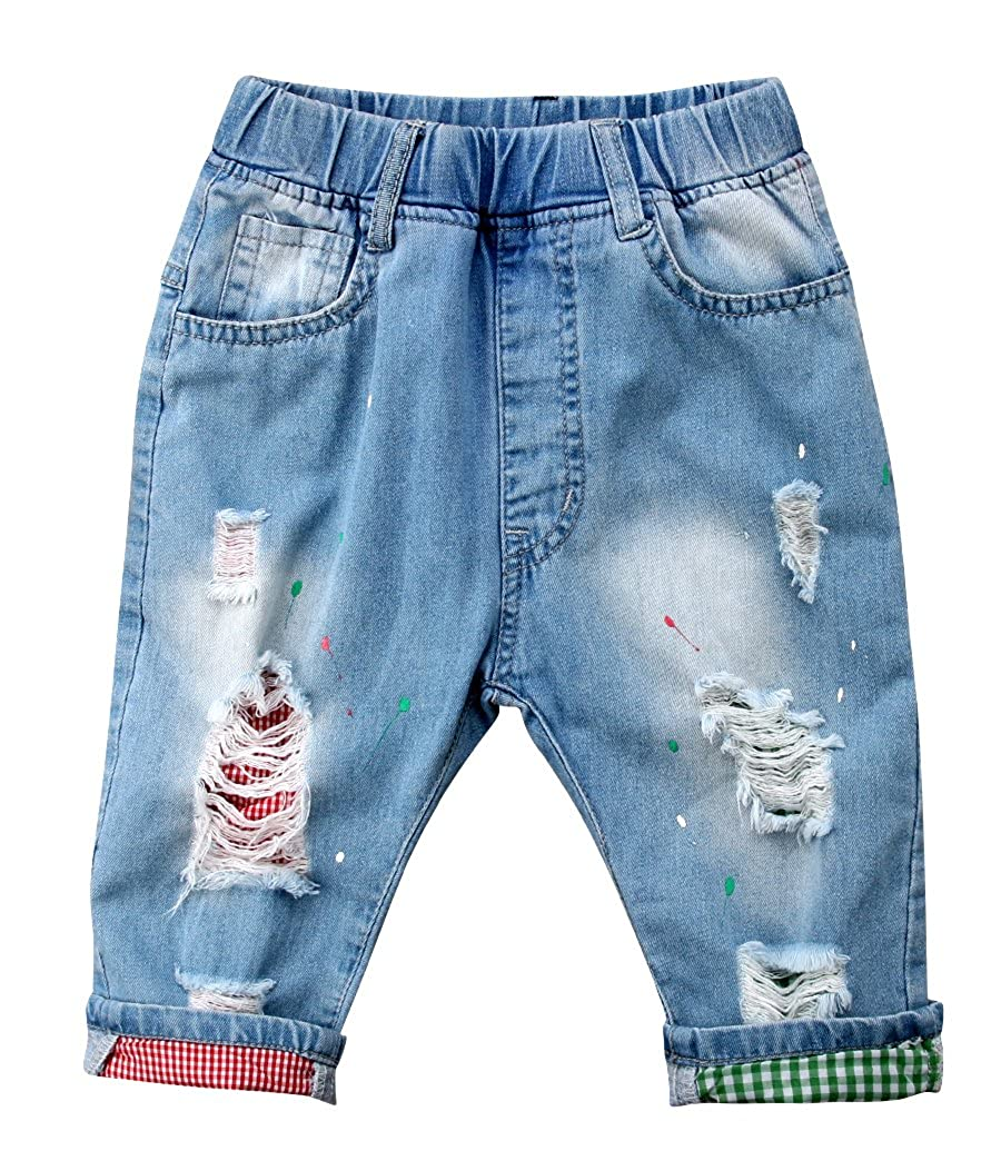 Emmababy Toddler Infant Boys Girls Kids Elastic Waist Destroyed Ripped Hole Denim Pants Jeans
