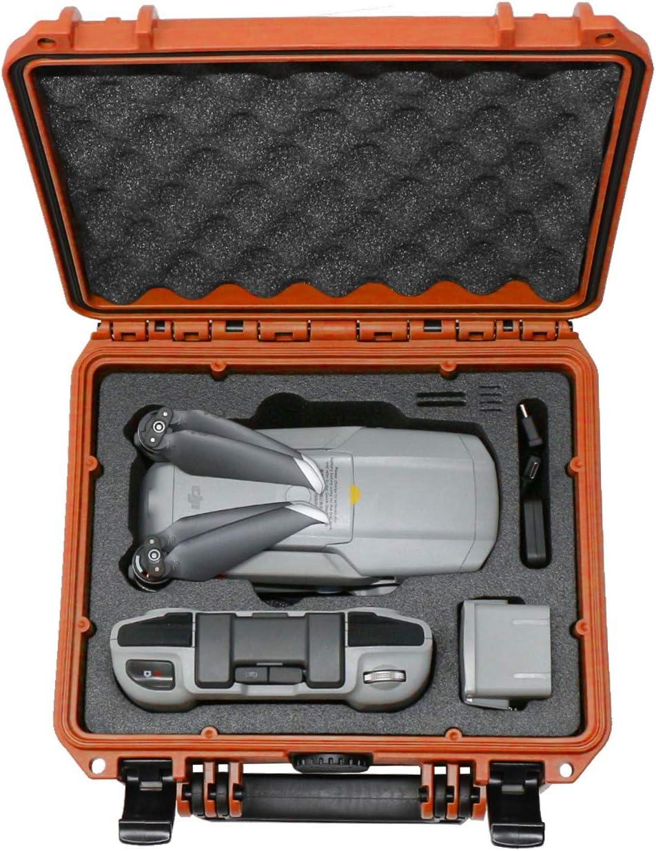 TOMcase Mallette Professionnelle Compact pour DJI Mavic Air 2 et Accessoires; Boîtier étanche pour l\'extérieur IP67 - Fabriqué en Allemagne (Noir/Rouge-Noir) Orange/Noir