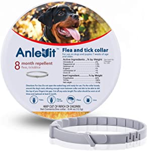 Flea and Tick Collar for Dogs,Anlevit 8-Month Flea and Tick Repellent for Dogs Over 18 lbs