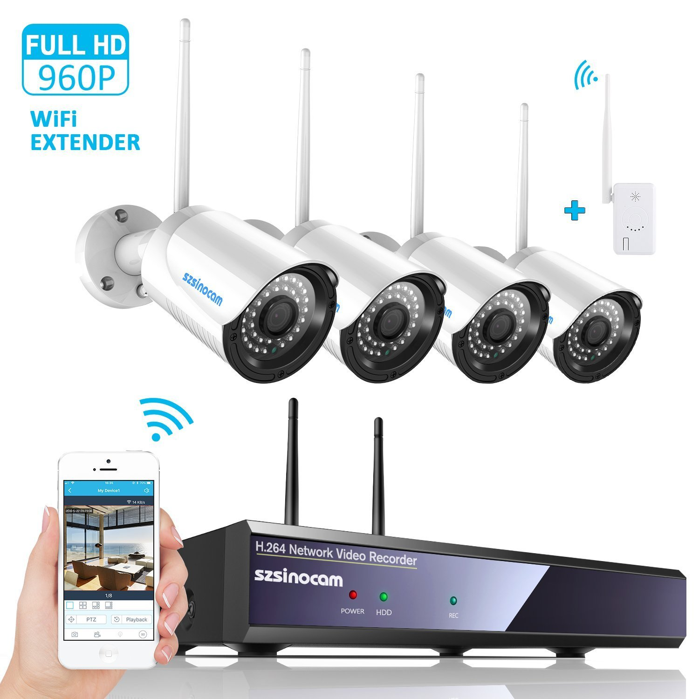 Sistema de cámara de seguridad, SZSINOCAM 1080P NVR 4 200W Wifi Cámara IP wireless Sistema de seguridad Kit 960P IP66 Impermeable Cámaras IR Visión alarma por correo electrónico, sistema de segurida