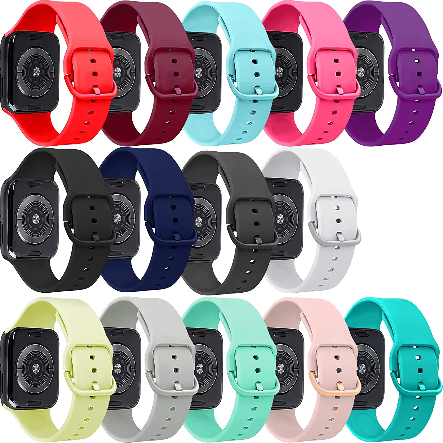 14 pack Bands Compatible with Apple Watch Band 42mm 44mm, Each Silicone Replacement Strap with Same Color of Band Classic Clasp for iWatch Series SE 6 5 4 3 2 1, Women Men