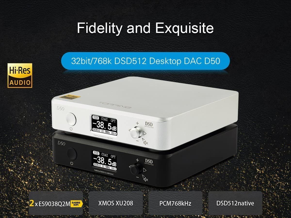 TOPPING D50 HiFi Audio DAC ES9038Q2M2 XMOS XU208 DSD512 USB 32Bit ...