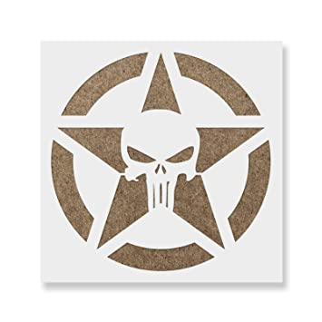 amazon co jp 38cm x 38cm punisher skull star stencil template
