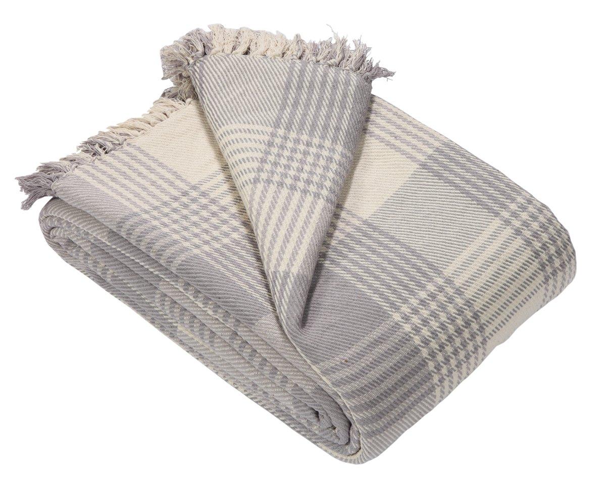 EHC Premium 100% Cotton Large 150 x 200 cm Tartan Throws for Sofa ...