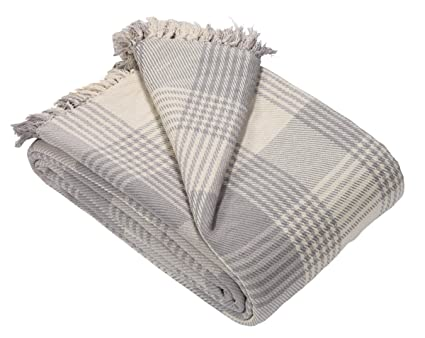 EHC Premium 100% Cotton Large 150 x 200 cm Tartan Throws for Sofa, Armchair  Bedspread, Grey, Small Double