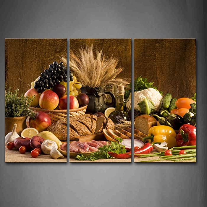 First Wall Art - Brown Fresh Food Grape Apple Fruit In Basket Bread Oion Little Tomato Sweet Pepper Cauliflower Wheat Gather On The Table Wall Art Painting The Picture Print On Canvas Food Pictures For Home Decor Decoration Gift