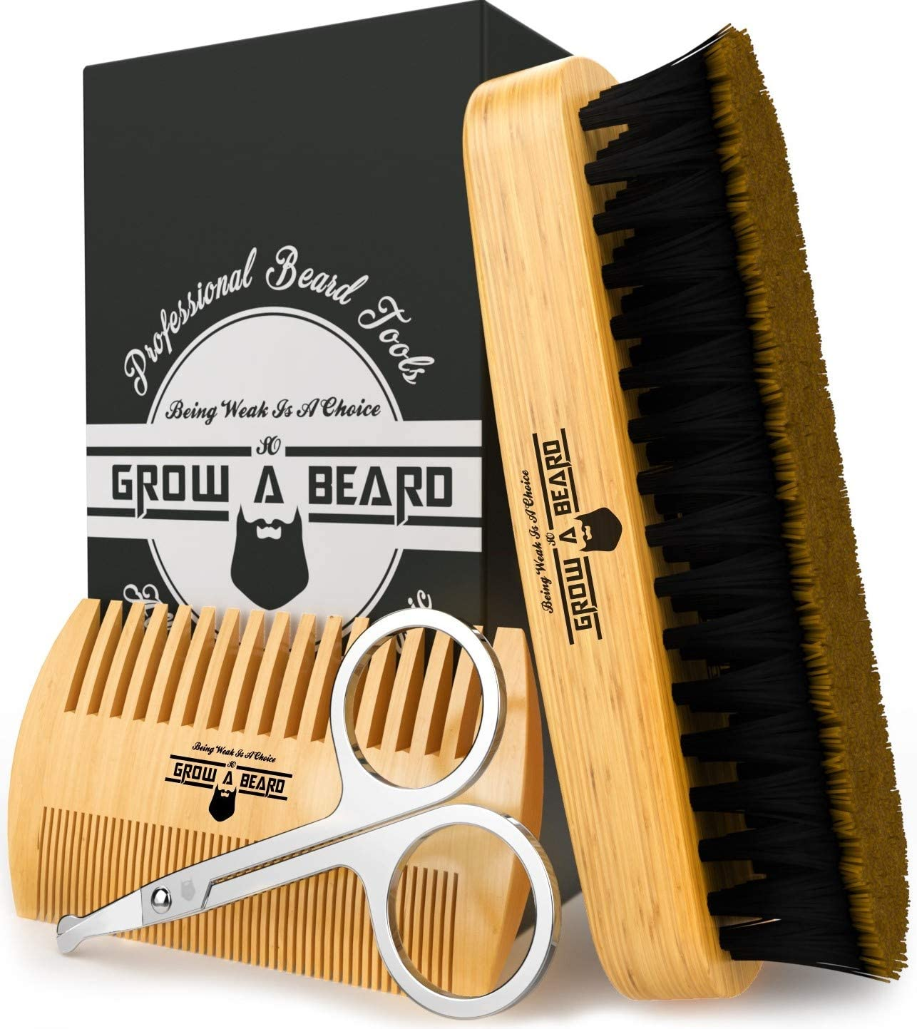 Beard Brush, Comb, & Scissors Grooming Kit