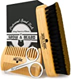 Beard Brush & Comb Set for Men Care - Gift Box & Friendly Bag - Best Bamboo Grooming Kit Great to Distributes Balm or…