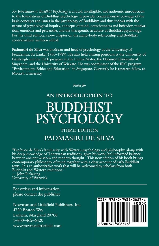 Amazon: An Introduction To Buddhist Psychology (9780742508576): De  Padmasiri Silva: Books