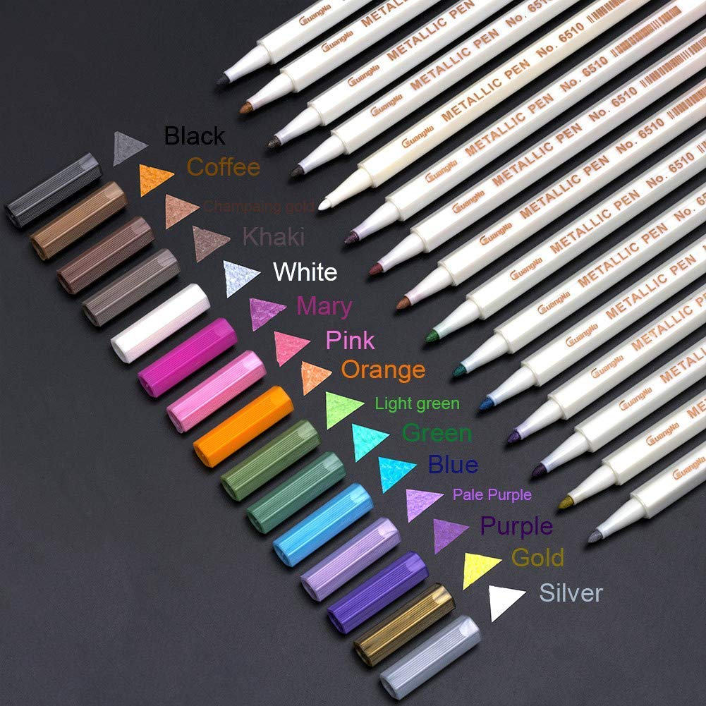 Paint Marker Pens - Fine Point Brush Tip, Metallic Permanent Paint Glitter Markers for Rock Painting, Glass Paint, Gift Card Making, Hand Calligraphy Lettering, Set of 15 PANGPANG 4336954664