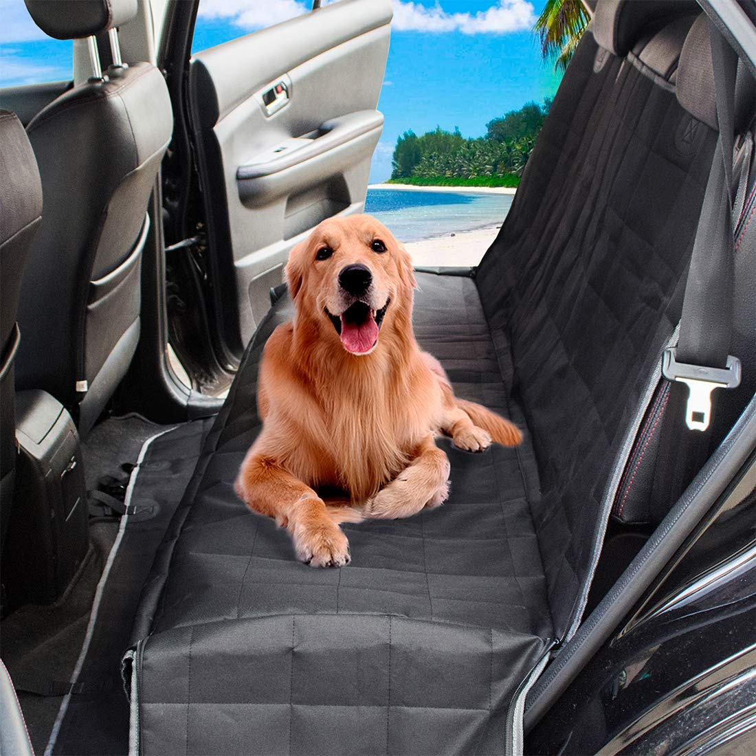 PETSGO Dog Seat Cover Car Seat Cover for Pets - Waterproof & Scratch Proof & Nonslip Backing - Durable & Premium Pet Seat Covers for Cars Trucks and SUVs - Black, Hammock Convertible