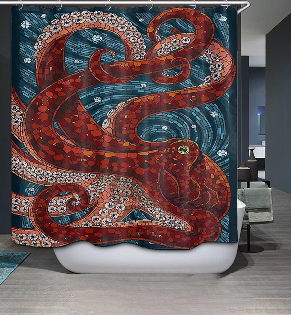 YYG Mildew Resistant Fabric Shower Curtain Octopus Printed Personality Bath Curtain/Bath Liner/Bathroom Decoration Waterproof Red a YYG-Home
