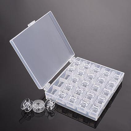 kmall 25 piezas plástico transparente bobinas bobina de para máquina de coser Costura con funda de
